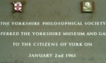 """Plaque noting the transfer of The Yorkshire Museum to """"The cItizens of York"""""""