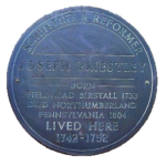 Plaque at Old Hall, Heckmondwike noting that Priestley lived there